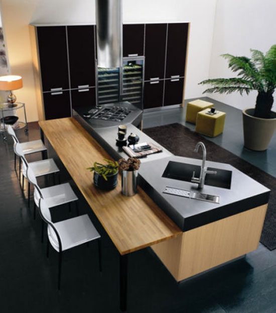 Modern Omnia kitchens use natural oak or grey oaks furniture by Bontempi
