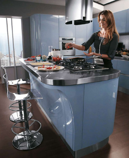 Modern baby blue kitchen with high specification molded cupboards and stainless steel top