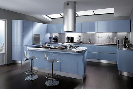 Modern baby blue kitchen with high specification molded cupboards and stainless steel tops
