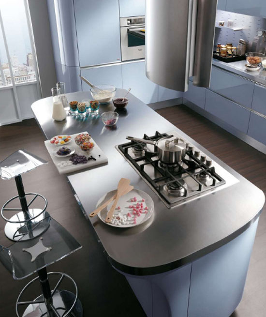Modern baby blue kitchen with high specification moldedcupboards and stainless steel tops