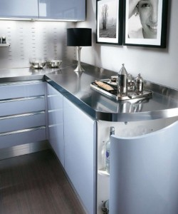 Modern baby blue kitchen with highspecification molded cupboards and stainless steel tops