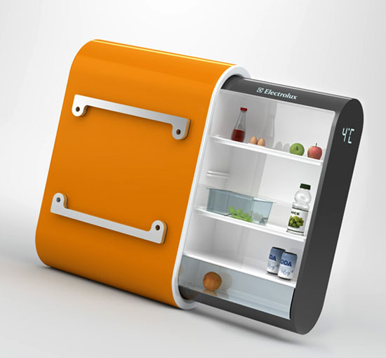 Modern eco fridge with solar energy hang on the external wall
