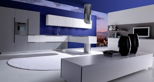 Modern kitchen Effeti Available in Blue kitchen designed by Giancarlo Vegni