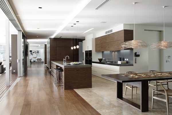 Modern minimalism design with pictures from the bright colors in this kitchen design