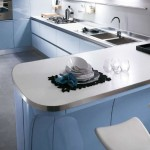 Modernbaby blue kitchen with high specification molded cupboards and stainless steel tops