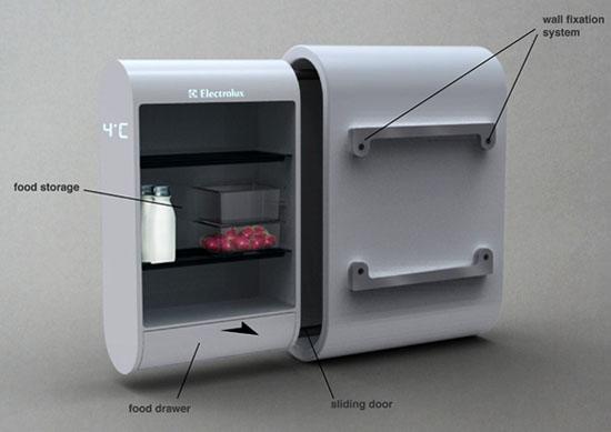 Moderns eco fridge with solar energy hang on the external wall