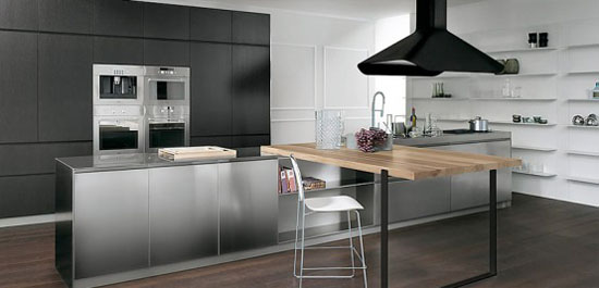 Modular Work kitchen Island with thin stainless steel shelves for Contemporary Kitchen