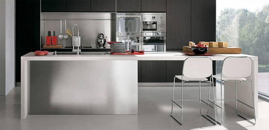 Modular Work kitchen Island with thin stainless steel shelves for Contemporary Kitchens