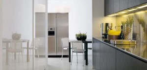 Modular Work kitchen Island with thin stainless steels shelves for Contemporary Kitchen