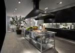 Modular Work kitchens Island with thin stainless steel shelves for Contemporary Kitchen