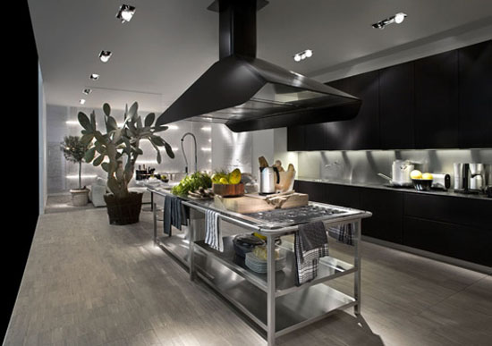 Modular Work Kitchen Island With Thin Stainless Steel