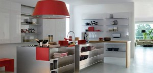 Modular Work kitchens Island with thin stainless steel shelves for Contemporary Kitchens