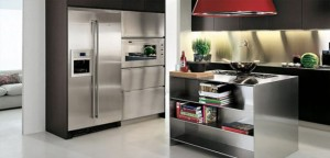 Modular Works kitchen Island with thin stainless steel shelves for Contemporary Kitchen