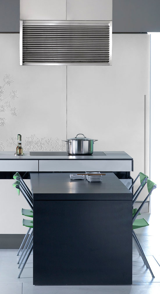 New Gaia Urban Kitchens from Bazzeo brings delicate paradox massive panelled wall unit