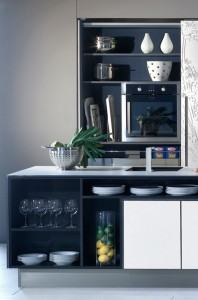 New Gaia Urban Kitchens from Bazzeo brings delicate paradox massive panelled wall units