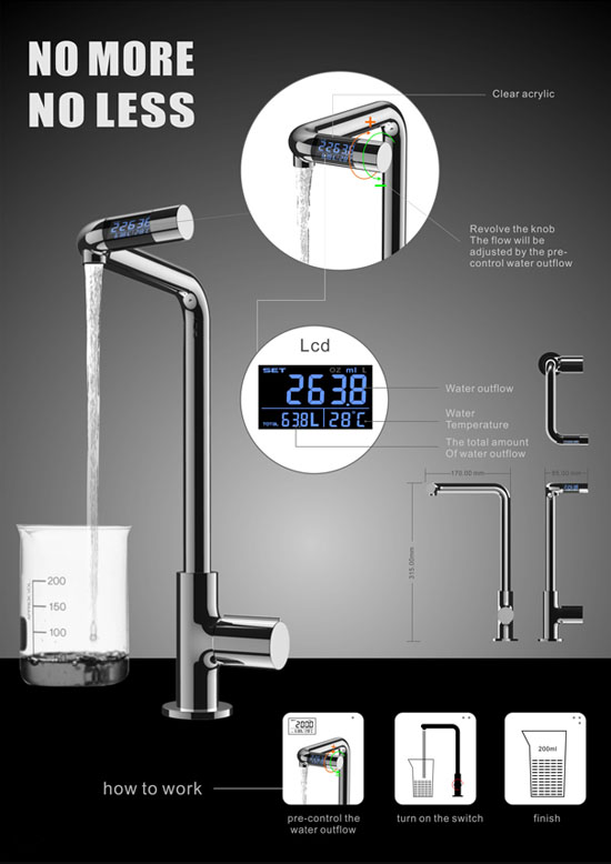 No More No Less faucet with LCD screen for controls