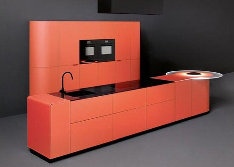 Orange kitchen is perfect over-the-top complement for minimalist kitchen