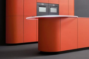 Orange kitchen is perfect over-the-top complement minimalist kitchen