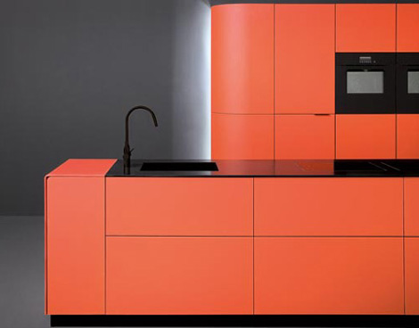 Orange kitchen perfect over-the-top complement minimalist kitchen