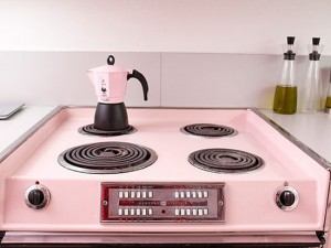 Pink kitchens accessories with pink Bialetti espresso maker