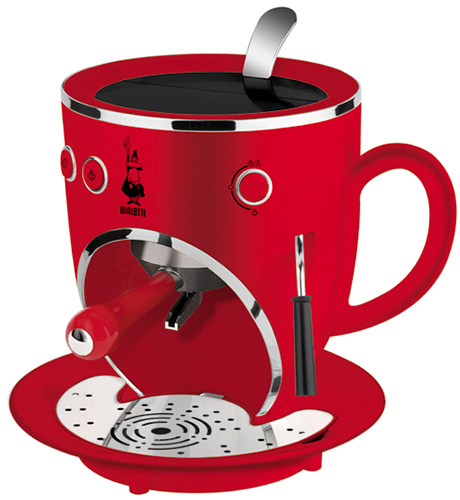 Red Cool Espresso like a robot face Machines design for future kitchen by Bialetti