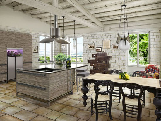 Rustic kitchen cabinets decorating ideas simple and nostalgic design by Toyo Kitchen