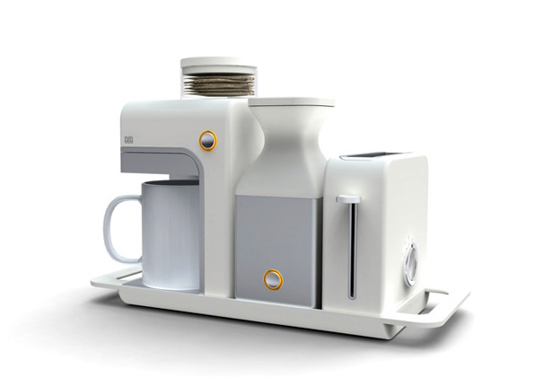 Set of breakfast set with pad based coffeemaker