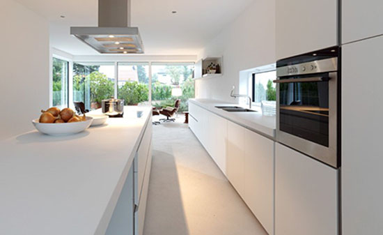 Simple and luxury white kitchen allowed laminate veneer stainless steel timber and glas
