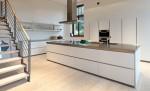 Simple and luxury white kitchen allowed laminate veneer stainless steel timber glas