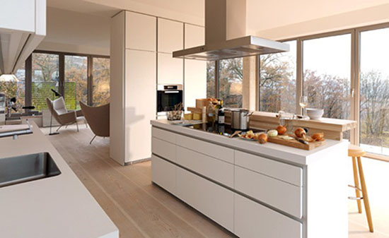 Simple and luxury white kitchen allowed laminate veneer stainless steel timber glass