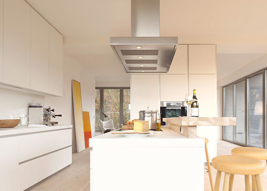 Simple luxury white kitchen allowed laminate veneer stainless steel timber and glass