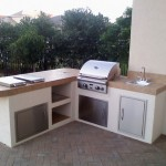 Small kitchen design in outdoor theme with several choice of design