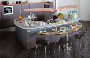 Snaidero Skyline curved shape saves space offers variety classic and modern finish