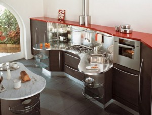 Snaidero Skyline curved shape saves space offers variety of classic modern finish