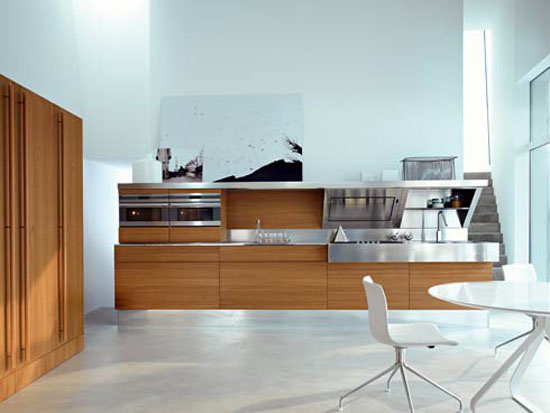 Snaidero kitchen design has contrast shapes and materials in Kube