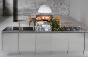 Stainless Steel Kitchen Cabinet with no handle door by Mark Elam Zanuso