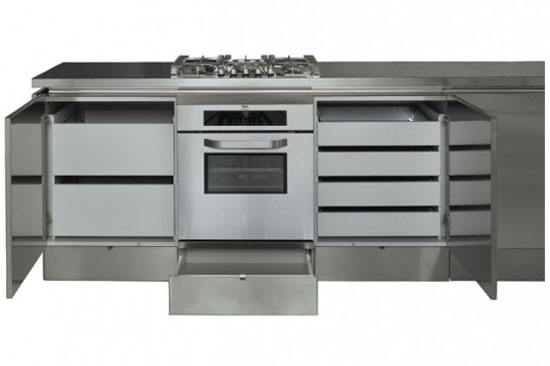 Stainless Steel Kitchens Cabinets with no handle door by Mark Elam Zanuso