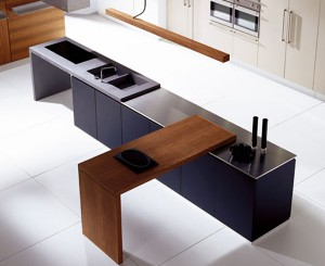 Striking Linear blend wood kitchen design generous stainles steel work surface inside