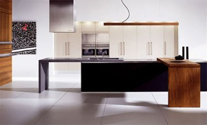 Striking Linear blend wood kitchen design generous stainless steel work surface inside