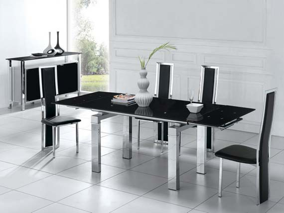 Black dining room design in glass and metal