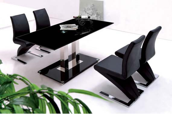 Black dining room design in glass material