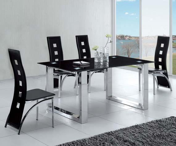 Black dining room design in glass