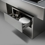 The Isola Linear kitchens design using material like steel with clean line and square