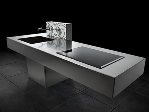 The Isola Linear kitchens design using material like steel with clean lines and square