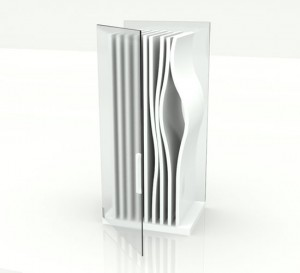 The most unique fridge of bent sitting in the world with a simple color theme