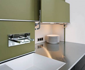 The winner of IMM Cologne'08 kitchen design use waterfall faucet fit