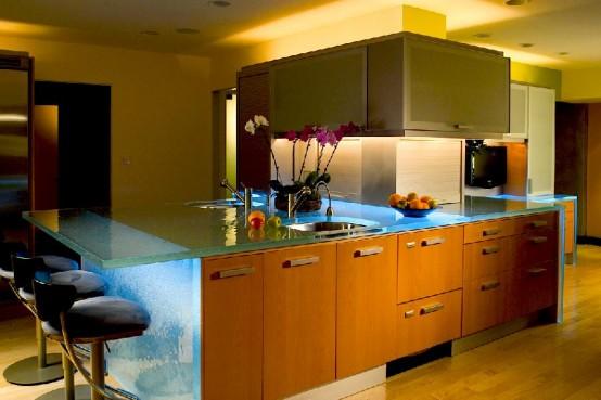 ThinkGlass created personalize kitchen use glass kitchen countertops beautiful pattern