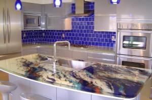 ThinkGlass created personalize kitchens use glass kitchen countertops beautiful patterns