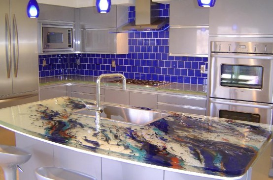 ThinkGlass created personalize kitchens use glass kitchen countertops beautiful patterns