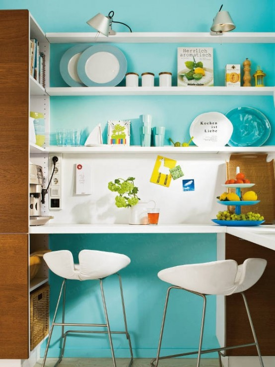 Turquoise Kitchen Decor and Space Saving Tricks  Kitchen Design Ideas